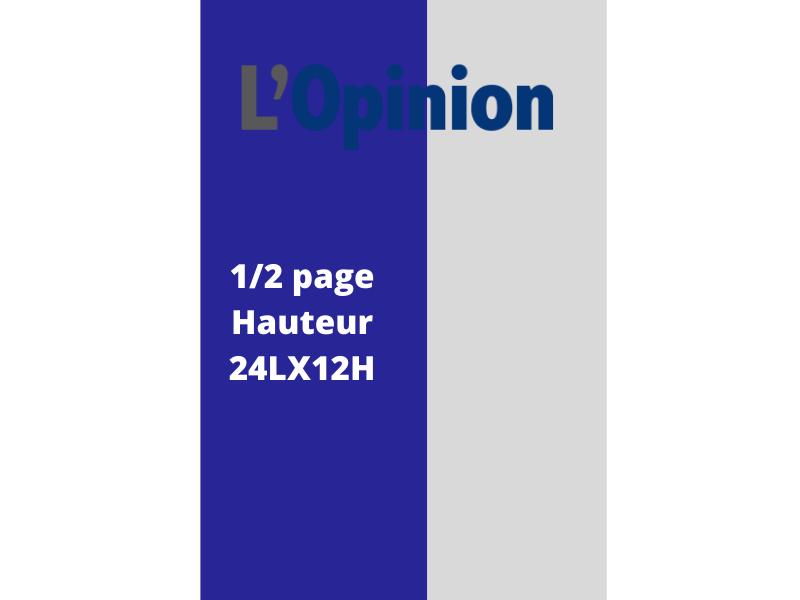 Annonces Administratives et Légales 1/2 Page en Hauteur journal L'Opinion