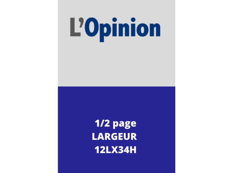 Annonces Administratives et Légales 1/2 Page en Largeur journal L'Opinion