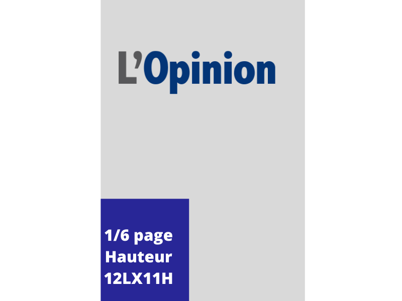 Annonces Administratives et Légales 1/6 Page en Hauteur journal L'Opinion