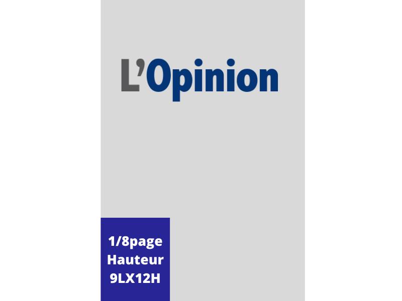 Annonces Administratives et Légales 1/8 Page en Hauteur journal L'Opinion