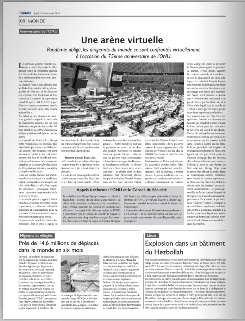Abonnement 6 mois au quotidien L'Opinion
