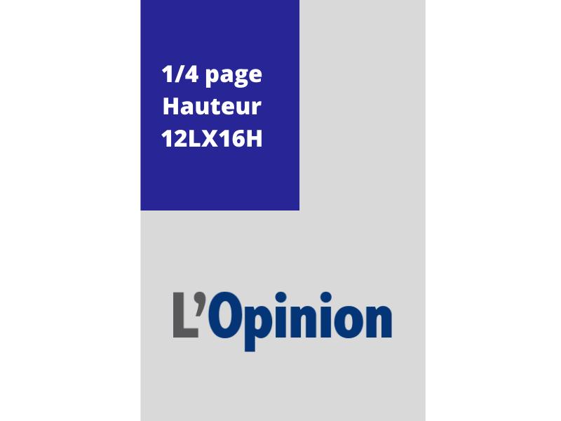 Annonces Administratives et Légales 1/4Page en Hauteur journal L'Opinion